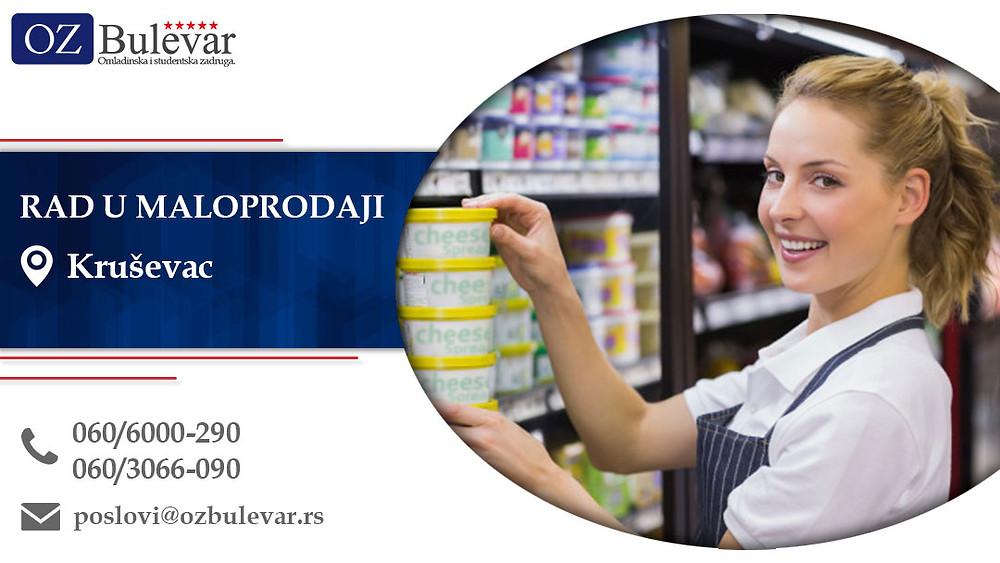 Rad u maloprodaji, Omladinska zadruga Bulevar, Poslovi, Oglasi za posao, Krusevac