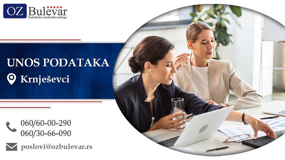 Unos podataka, Omladinska zadruga Bulevar, Poslovi, Oglasi za posao, Krnješevci