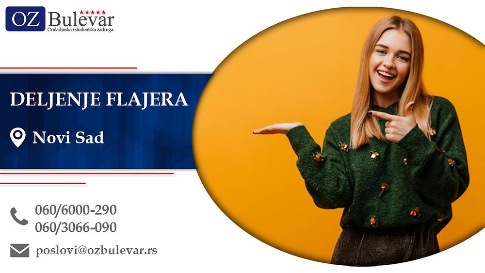 Deljenje flajera, Omladinska zadruga Bulevar, Poslovi, Oglasi za posao, Novi Sad