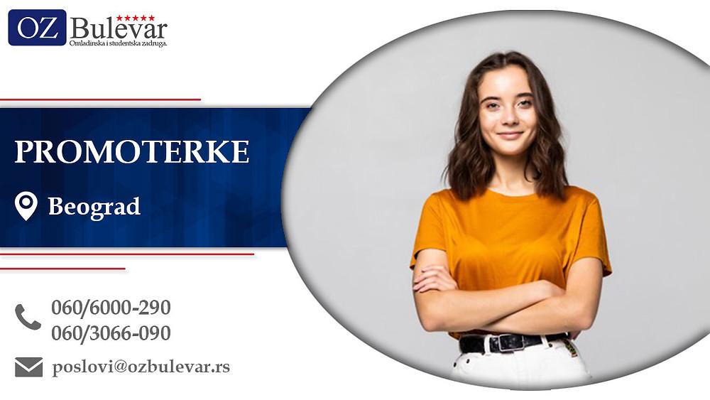 Promoterke, Omladinska zadruga Bulevar, Poslovi, Oglasi za posao Beograd