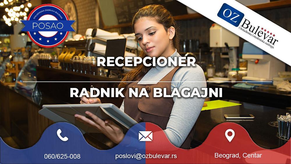 Omladinska zadruga Bulevar, Oglasi za posao, Studentski posao,Recepcioner Blagajnik, Beograd, centar