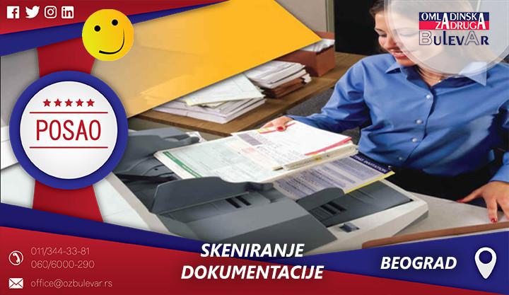 Skeniranje dokumentacije | Oglasi za posao, Beograd