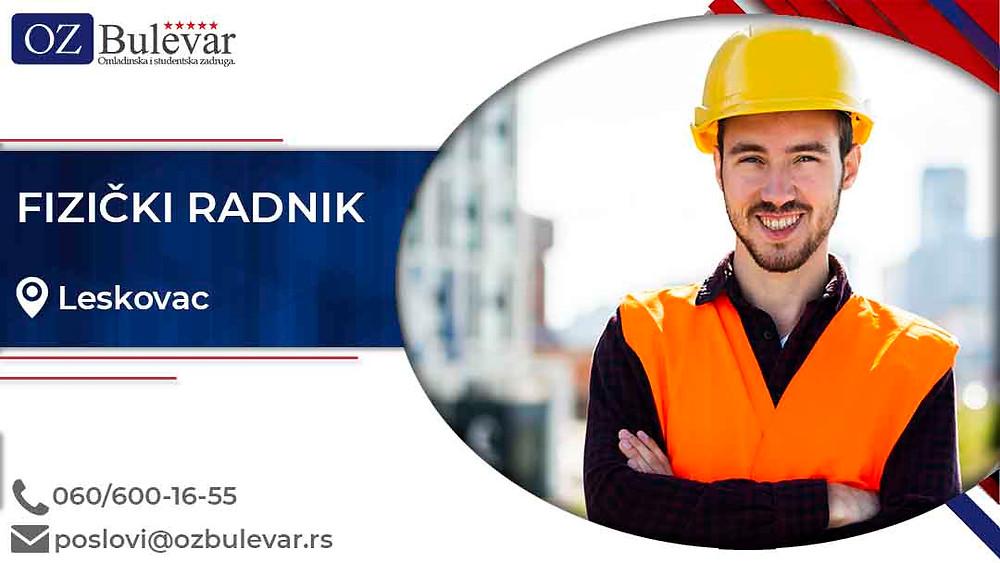 Omladinska zadruga Bulevar; posao u Leskovcu, Fizički radnik, poslovi za studente; Oglasi za posao fizički radnik