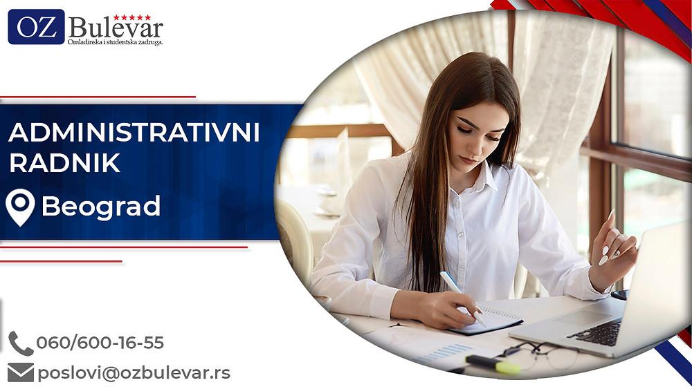 Omladinska zadruga Bulevar; posao u Beogradu, Administrativni radnik, poslovi za studente; Oglasi za posao administrativni radnik