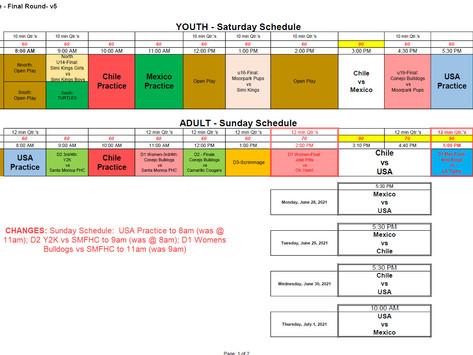 CHANGED Sunday Schedule