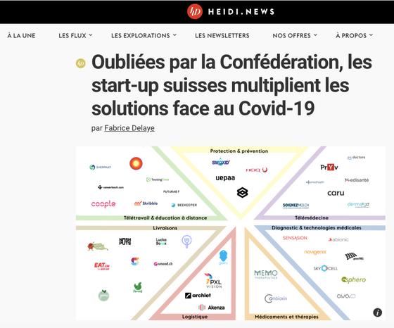 Heidi News: Oubliées par la Confédération, les start-up suisses multiplient les solutions face au Co