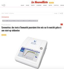 Le Nouvelliste: Coronavirus - des tests d'immunité pourraient être mis sur le marché grâce à une sta