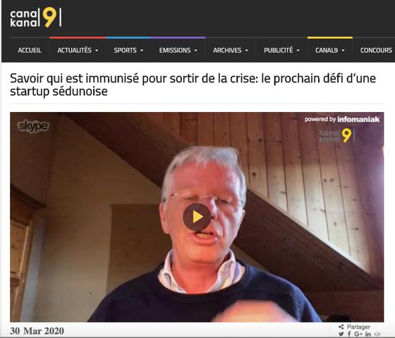 Canal9: Savoir qui est immunisé pour sortir de la crise: le prochain défi d'une startup sédunois