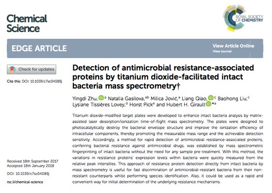 Detection of antimicrobial resistance-associated proteins by titanium dioxide-facilitated intact bac