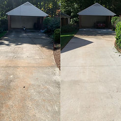 Greensboro driveway pressure washing services. This picture shows a before and after of the driveway pressure washing we provide as a driveway pressure washing company.