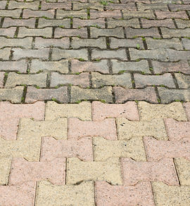 Dirty pavement with dense moss requiring