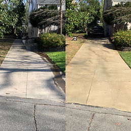 Greensboro driveway cleaning service. This picture shows the before and after of our driveway cleaning service as a driveway cleaning company.
