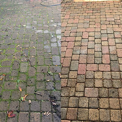 This shows the driveway power washing services we provide. Before and after shows the driveway pressure washing services we provide as a driveway pressure washing company.