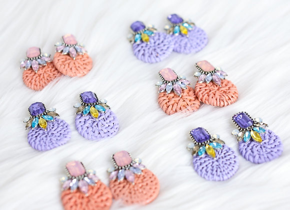 Poppy Rattan and Rhinestone Earrings