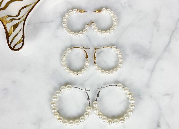 Harper Pearl Hoop Earrings