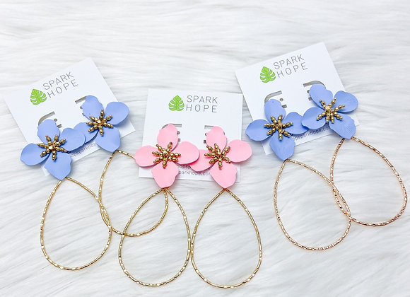 Aria Floral Statement Drop Earring