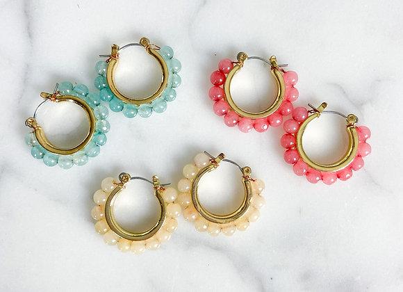 Stella Beaded Hoop Huggie Earrings