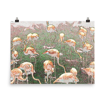 A Stand of Flamingos Print
