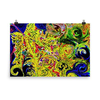 Swirly Neon Leaf Print