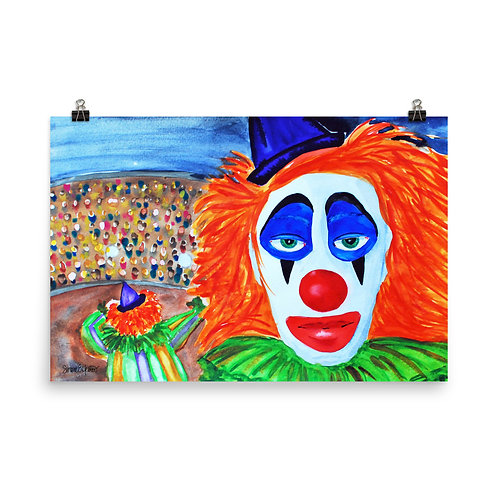 Sad Faced Clown Print