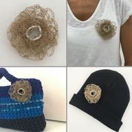Crochet paper brooch