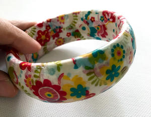 Floral decoupaged bangle