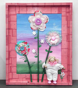 Mixed media art for kid's room
