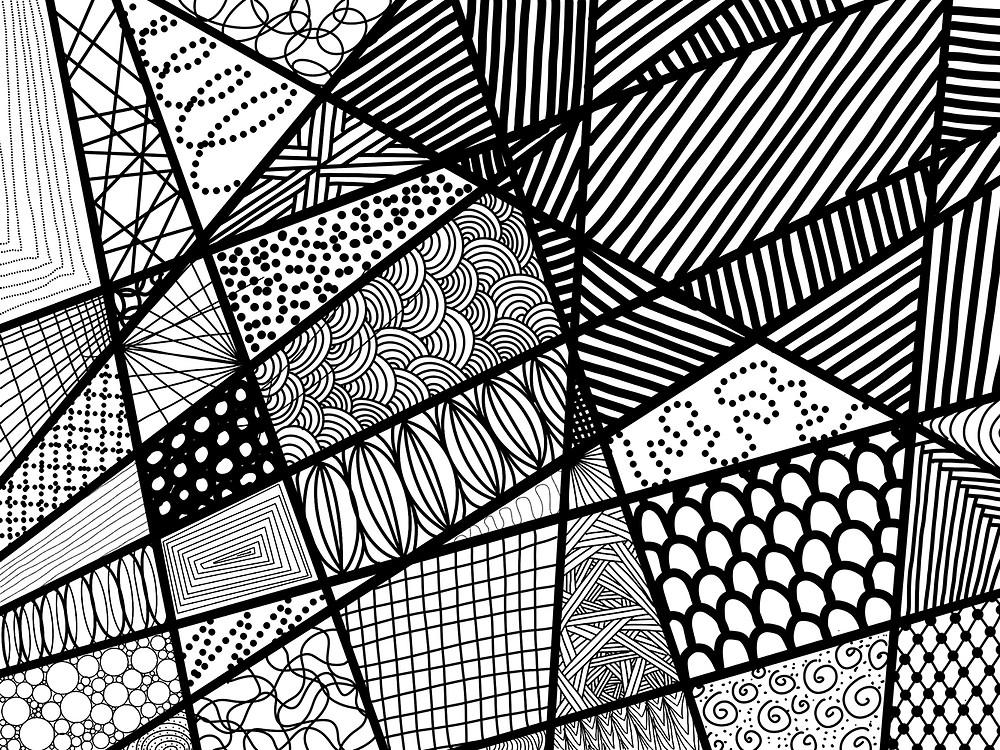 Black and white abstract drawing with lines dots and shapes. Done on a tablet as  a mindful exercise.