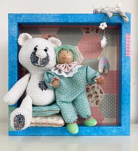 Baby and bear shadow box art