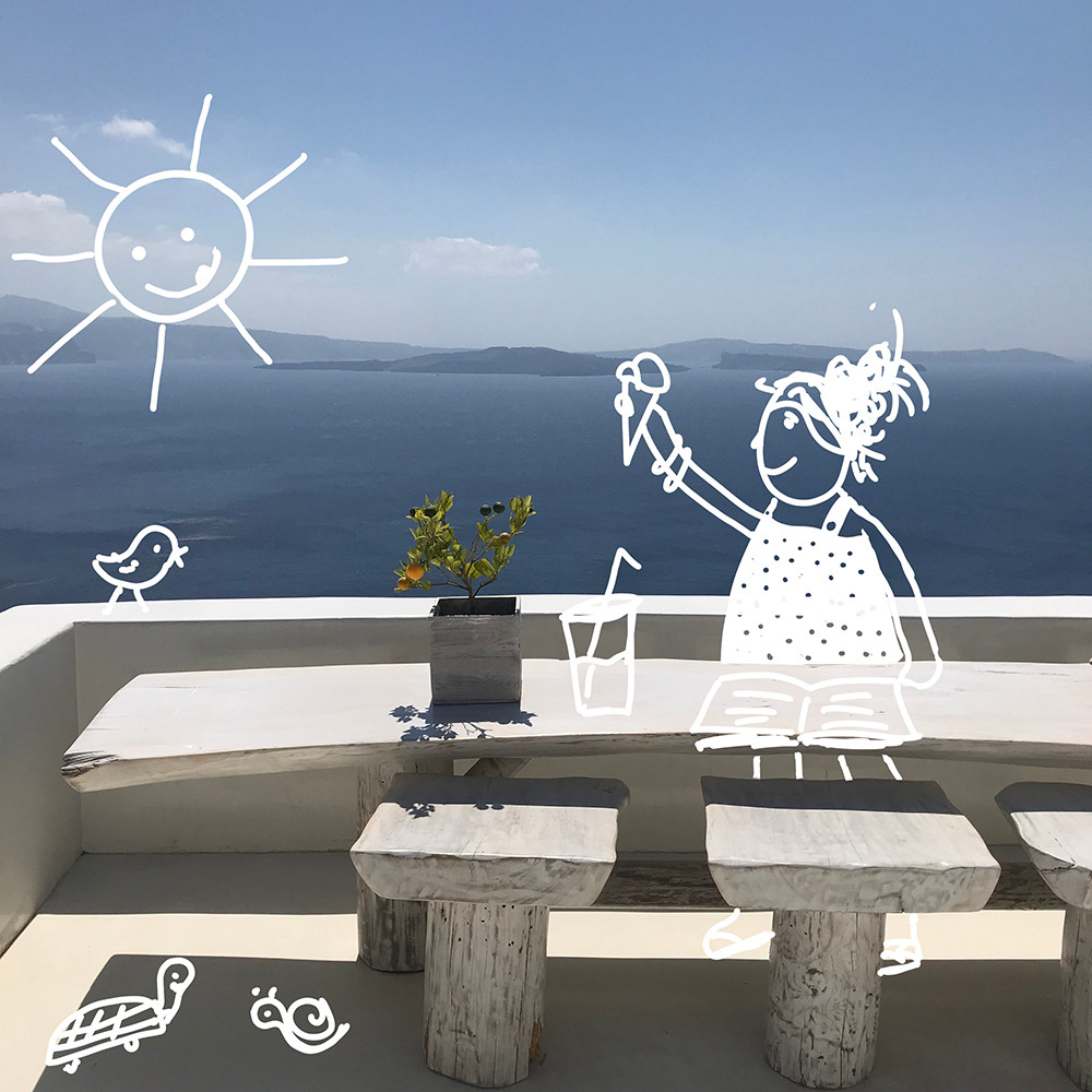 A modern minimal veranda on a Greek island with the sea and blue sky in the background. Doodle drawings show a smily sun in the sky and a girl in a summer dress with an ice cream in her hand.