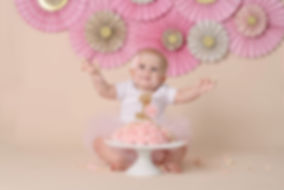 One year old poses for pictures while smashing her cake for her 1st birthday pictures