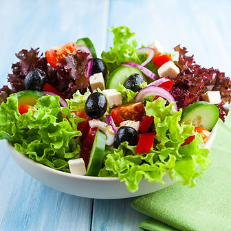 Healthy salad with cherry tomatoes, feta