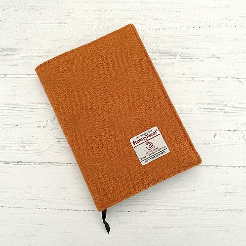 Orange Harris Tweed Padded A5 Notebook Cover - Aztec