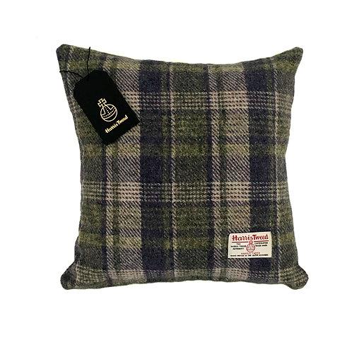 Lilac and Green Tartan Check Harris Tweed Cushion Cover