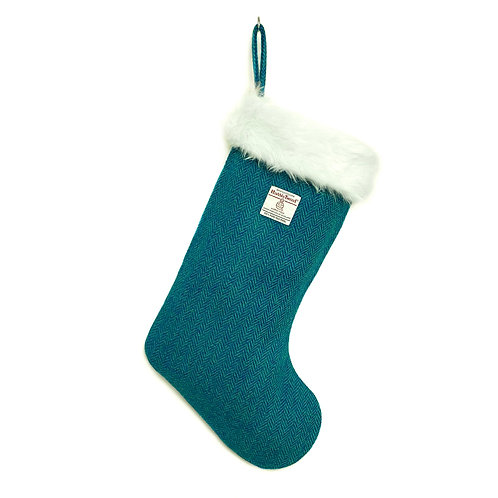 Teal & Turquoise Herringbone Harris Tweed Christmas Stocking