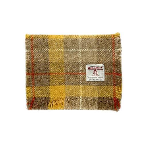 Yellow & Biscuit Beige Tartan Harris Tweed Luxury Fringed Scarf