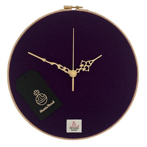 Purple Harris Tweed Wall Clock