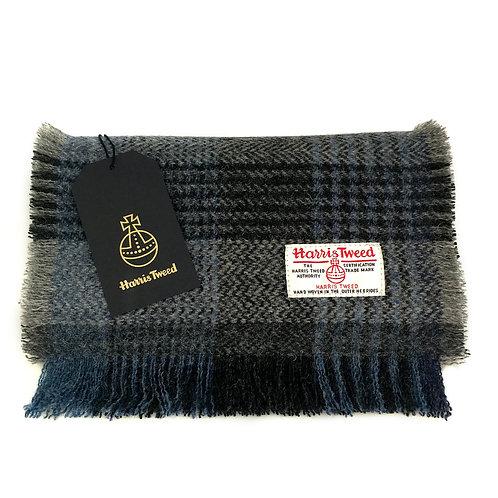 Black, Grey & Blue Herringbone Check Harris Tweed Luxury Fringed Scarf