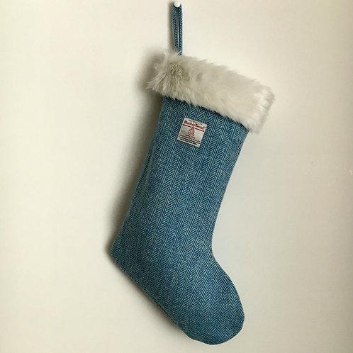 Blue & White Herringbone Harris Tweed Christmas Stocking