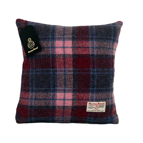 Crimson Red and Pale Pink Tartan Check Harris Tweed Cushion Cover