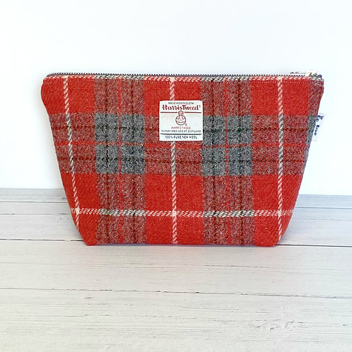 Red & Grey Tartan Harris Tweed Washbag