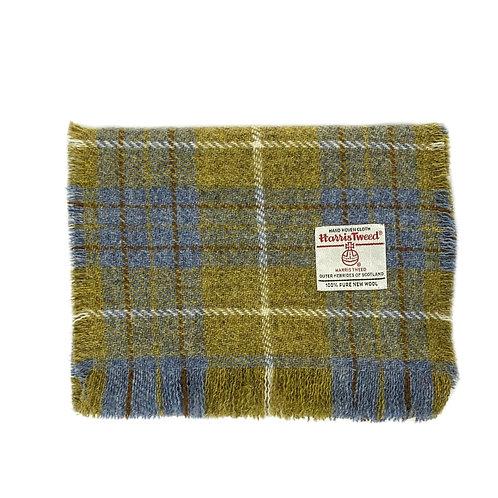 Blue & Mustard Tartan Harris Tweed Luxury Fringed Scarf