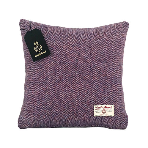Lilac & Blue / Pink Herringbone Harris Tweed Cushion Cover