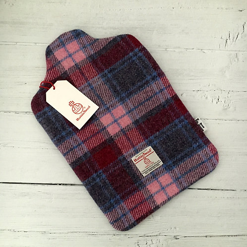 Crimson / Raspberry & Pale Pink Tartan Harris Tweed Hot Water Bottle Cover