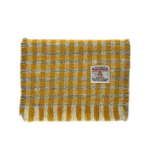 Yellow & Grey Small Check Harris Tweed Luxury Fringed Scarf