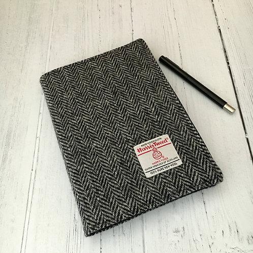 Black & White Herringbone Harris Tweed Padded A5 Notebook Cover