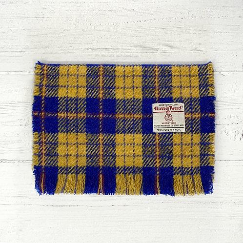 Blue & Yellow Tartan Harris Tweed Luxury Fringed Scarf