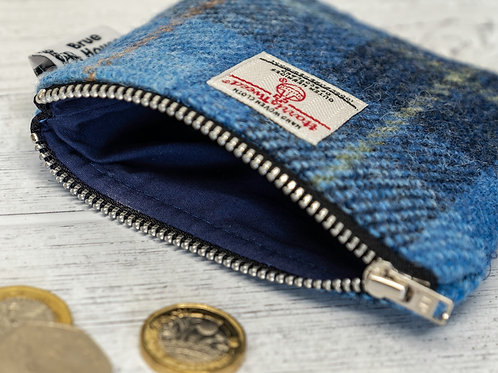 Blue Tartan Harris Tweed Coin Purse