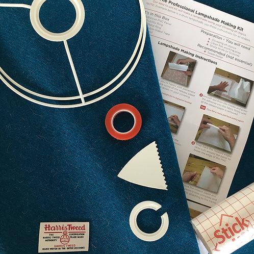 Kingfisher Blue Harris Tweed - DIY Lampshade Kit