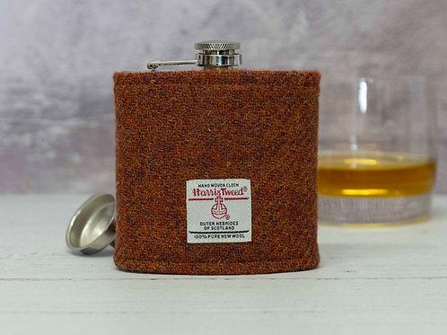 Harris Tweed Hip Flask - Copper Brown
